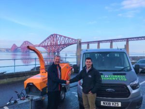 Jensen UK Business Manager Bill Johnston with Field & Forest Machinery Owner Tom Brown