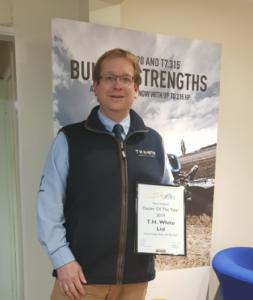 Adrian Lovegrove, Operations Director celebrating Hay & Forage award