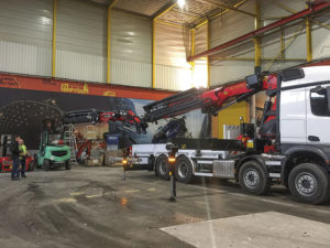 Darren Lappin gets hands on with Palfinger crane at factory in Austria in February